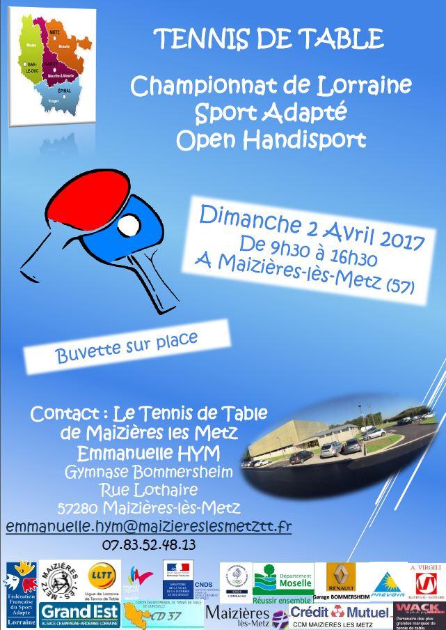 Maizi res accueillera les championnats de lorraine de - Championnat d europe de tennis de table ...